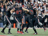 Ohio State Buckeyes defensive lineman Joey Bosa (97) celebrates a sack during the first quarter of the NCAA football game between the Ohio State Buckeyes and the Penn State Nittany Lions at Ohio Stadium on Saturday, October 17, 2015. (Columbus Dispatch photo by Jonathan Quilter)