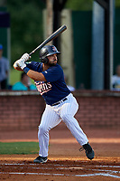 Elizabethton Twins third baseman Alex Robles (24) at bat during a game against the Bristol Pirates on July 28, 2018 at Joe O'Brien Field in Elizabethton, Tennessee.  Elizabethton defeated Bristol 5-0.  (Mike Janes/Four Seam Images)