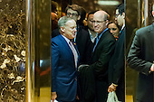 Sean Spicer, White House Correspondents' Association President Jeff Mason of Reuters, and other WHCA Board members crowd into an elevator in the lobby of Trump Tower in New York, NY, USA on January 5, 2017. <br /> Credit: Albin Lohr-Jones / Pool via CNP