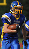 Jordan DeLucia #7 of Kellenberg races upfield during a CHSAA varsity football game against Holy Trinity at Mitchel Athletic Complex in Uniondale on Sunday, Sept. 17, 2017. Kellenberg won by a score of 45-0.