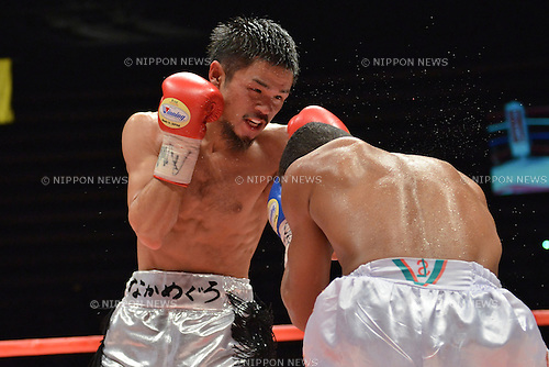 (L-R) Kohei Kono (JPN), Liborio Solis (VEN),<br /> MAY 6, 2013 - Boxing :<br /> Kohei Kono of Japan in action against Liborio Solis of Venezuela during the fourth round of the WBA super flyweight title bout at Ota-City General Gymnasium in Tokyo, Japan. (Photo by Hiroaki Yamaguchi/AFLO)