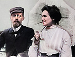 Russian playwright and writer Anton Chekhov with his wife Olga Knipper. 1902
