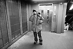 BROOKLYN -- FEBRUARY 14, 2009:  Rapper Aimz stops to talk to a friend as he transfers from the A train to the Prospect Park Shuttle train on his way home to Flatbush on February 14, 2009 in Brooklyn.  (PHOTOGRAPH BY MICHAEL NAGLE).....