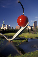 "AJ2857, Minneapolis, cherry, spoon, Twin Cities, Minnesota, """"Spoonbridge and Cherry Sculpture"""" in the Minneapolis Sculpture Garden at the Walker Art Center with the skyline of downtown Minneapolis in the state of Minnesota."