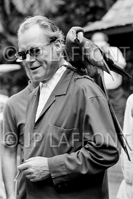 02 Jan 1972, Florida, USA --- German Chancellor Willy Brandt on holiday, with a parrot on his shoulder, during a visit to the Saratoga Jungle garden. Brandt was awarded the Nobel Peace Prize in 1971 for his work in improving relations with the German Democratic Republic, Poland and the Soviet Union. | Location: Saratoga, Florida, U.S.A. --- Image by © JP Laffont