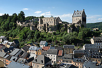 Grand Duchy of Luxembourg, Larochette: Crehange Castle overlooking town in Ernz Blanche Valley