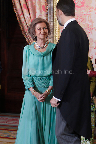 Queen Sofia of Spain attends the reception of the diplomatic corps in Spain at Palacio Real. January 23, 2013. (ALTERPHOTOS/Caro Marin) /NortePhoto /MediaPunch Inc. ***FOR USA ONLY***