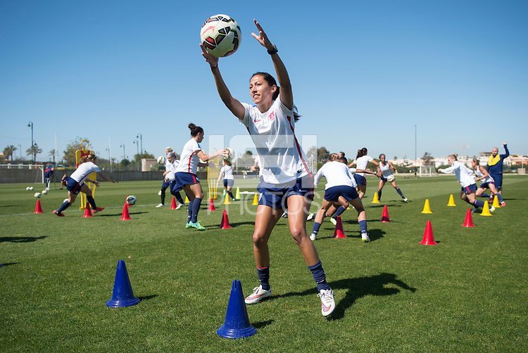 Lagos, Portugal - March 10, 2015: The USWNT in preparation for the final at the Algarve Cup.