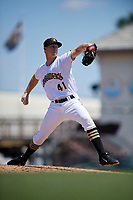 Bradenton Marauders relief pitcher Logan Sendelbach (41) delivers a pitch during a game against the Charlotte Stone Crabs on April 9, 2017 at LECOM Park in Bradenton, Florida.  Bradenton defeated Charlotte 5-0.  (Mike Janes/Four Seam Images)