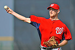 24 February 2012: Washington Nationals' pitcher Austin Bibens-Dirkx warms up at the Carl Barger Baseball Complex in Viera, Florida. Mandatory Credit: Ed Wolfstein Photo