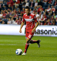 Chicago midfielder Marco Pappa dribbles the ball (16).  The Chicago Fire tied Chivas USA 1-1 at Toyota Park in Bridgeview, IL on May 1, 2010.