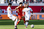 Wu Lei of China (C) competes for the ball with Tamirlan Kozubaev of Kyrgyz Republic (L) during the AFC Asian Cup UAE 2019 Group C match between China (CHN) and Kyrgyz Republic (KGZ) at Khalifa Bin Zayed Stadium on 07 January 2019 in Al Ain, United Arab Emirates. Photo by Marcio Rodrigo Machado / Power Sport Images