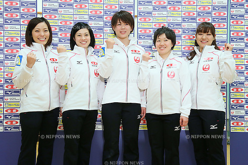 (L-R) Ayumi Ogasawara, Yumie Funayama, Kaho Onodera, Michiko Tomabechi, Chinami Yoshida (JPN),<br /> NOVBEMBER 9, 2013 - Curling :<br /> Japanese Men's and Women's national Curling team attend the Press Conference in Tokyo, Japan, regarding the 2011 Pacific-Asia Curling Championships. (Photo by AFLO SPORT)