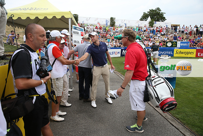 Maximilian Kieffer (GER) greets the volunteers who will watch and score the golf, during the Final Round of the 2015 Alstom Open de France, played at Le Golf National, Saint-Quentin-En-Yvelines, Paris, France. /05/07/2015/. Picture: Golffile | David Lloyd<br /> <br /> All photos usage must carry mandatory copyright credit (&copy; Golffile | David Lloyd)