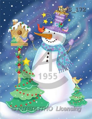 Janet, CHRISTMAS SANTA, SNOWMAN, paintings, J. Snowman with Birdhouse(USJS172,#X#) Weihnachtsmänner, Schneemänner, Weihnachen, Papá Noel, muñecos de nieve, Navidad, illustrations, pinturas