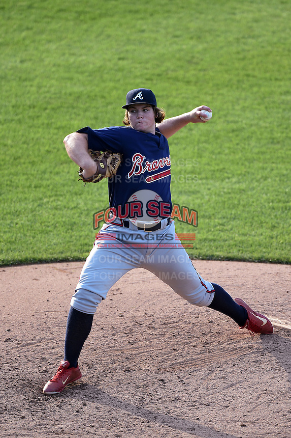Jonathan Gettys (19) of Gainesville High School in Gainesville, Georgia playing for the Atlanta Braves scout team during the East Coast Pro Showcase on July 31, 2014 at NBT Bank Stadium in Syracuse, New York.  (Mike Janes/Four Seam Images)