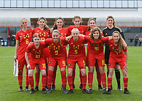 20190406 - TUBIZE , BELGIUM : Belgian team with Zoé Dejardin (6)   Faye Lammertijn (1)   Heike Maulfait (4)   Lauren Meyers (10)   Imani Prez (9)   Merel Smets (15)   Fleur Van Daele (16)   Zoé Van de Cloot (3)   Nelle Van Parijs (7)   Lisa Vanhentenrijk (5)   Judith Verheyen (17)   pictured during the friendly female soccer match between Women under 16 teams of  Belgium and Republic of Ireland , in Tubize , Belgium . Saturday 6 th April . PHOTO SPORTPIX.BE / DIRK VUYLSTEKE