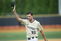 Wake Forest Demon Deacons relief pitcher John McCarren (45) tips his cap to the fans as he leaves the game against the Pittsburgh Panthers at David F. Couch Ballpark on May 20, 2017 in Winston-Salem, North Carolina. The Demon Deacons defeated the Panthers 14-4.  (Brian Westerholt/Four Seam Images)