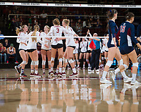 STANFORD, CA - December 1, 2018: Kate Formico, Meghan McClure, Jenna Gray, Holly Campbell, Kathryn Plummer at Maples Pavilion. The Stanford Cardinal defeated Loyola Marymount 25-20, 25-15, 25-17 in the second round of the NCAA tournament.