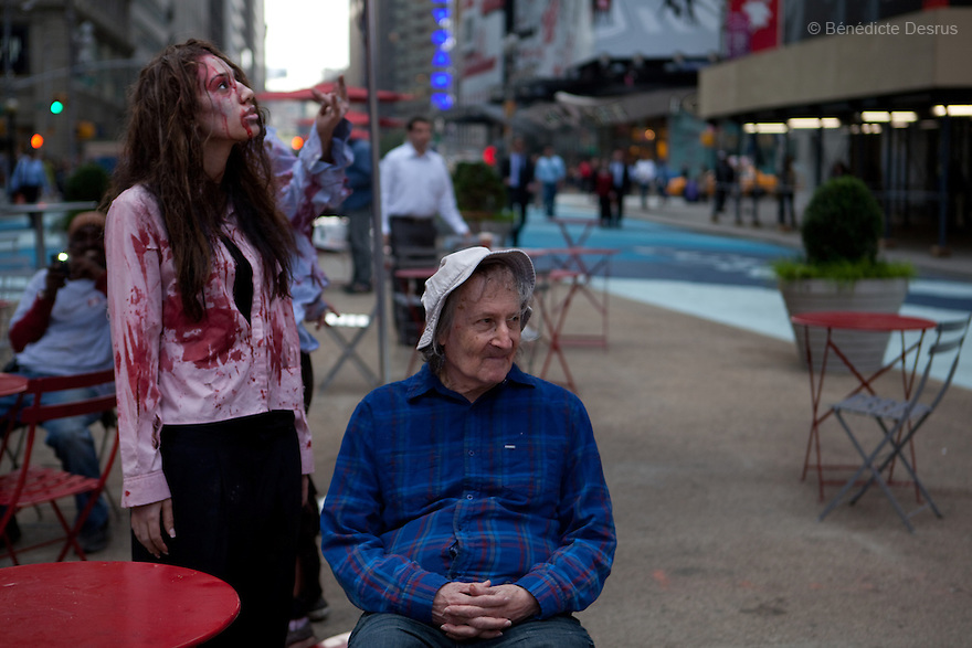 "Tuesday 26 october - New York, United States - Persons costumed as zombies to stage a worldwide zombie invasion in anticipation of the premiere of AMC's new drama series ""the walking dead"" in New York and other major cities. Photo credit: Benedicte Desrus"