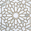 Castilla, a waterjet and hand-cut stone mosaic, shown in honed Jura Grey and polished Calacatta Tia, is part of the Miraflores Collection by Paul Schatz for New Ravenna.<br />