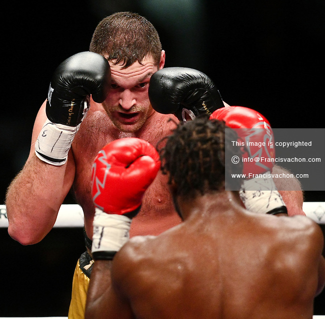 Tyson Fury and Zack Page fight at le Colisee Pepsi in Quebec City Sunday December 19, 2010. Tyson won over Page.