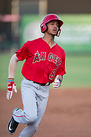 AZL Angels shortstop Jeremiah Jackson (8) jogs into third base for a lead-off triple during an Arizona League game against the AZL Padres 2 at Tempe Diablo Stadium on July 18, 2018 in Tempe, Arizona. The AZL Padres 2 defeated the AZL Angels 8-1. (Zachary Lucy/Four Seam Images)