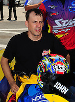 Apr. 29, 2012; Baytown, TX, USA: NHRA pro stock motorcycle rider John Hall during the Spring Nationals at Royal Purple Raceway. Mandatory Credit: Mark J. Rebilas-