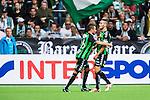 Stockholm 2014-06-18 Fotboll Superettan Hammarby IF - GAIS :  <br /> Shkelqim Krasniqi har gjort 1-0 och jublar framf&ouml;r Hammarbys supportrar<br /> (Foto: Kenta J&ouml;nsson) Nyckelord:  Superettan Tele2 Arena Hammarby HIF Bajen GAIS jubel gl&auml;dje lycka glad happy supporter fans publik supporters