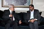 Palestinian President Mahmoud Abbas meets With the leader of Islamic Jihad movement Ramadan Shalah, in The Syrian Capital of Damascus.