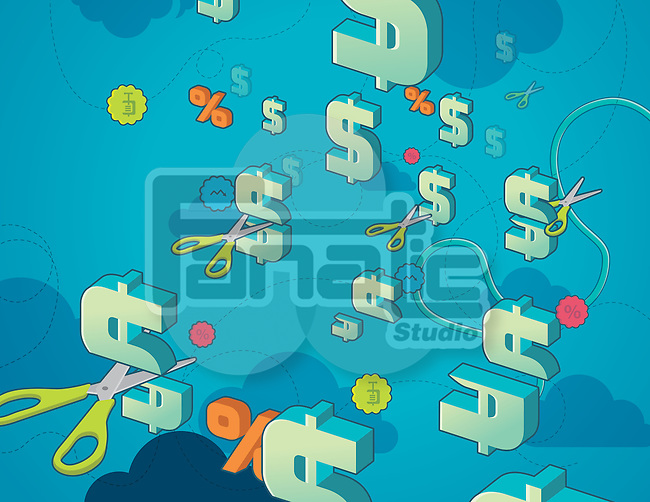 Illustration of scissors and dollar symbol depicting concept of cost cutting
