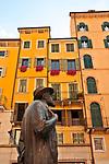 Statue of the Italian poet, Roberto (Berto) Barbarani in Piazza Erbe
