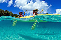 Split Level Kayakers.Honeymoon Beach, St John.US Virgin Islands