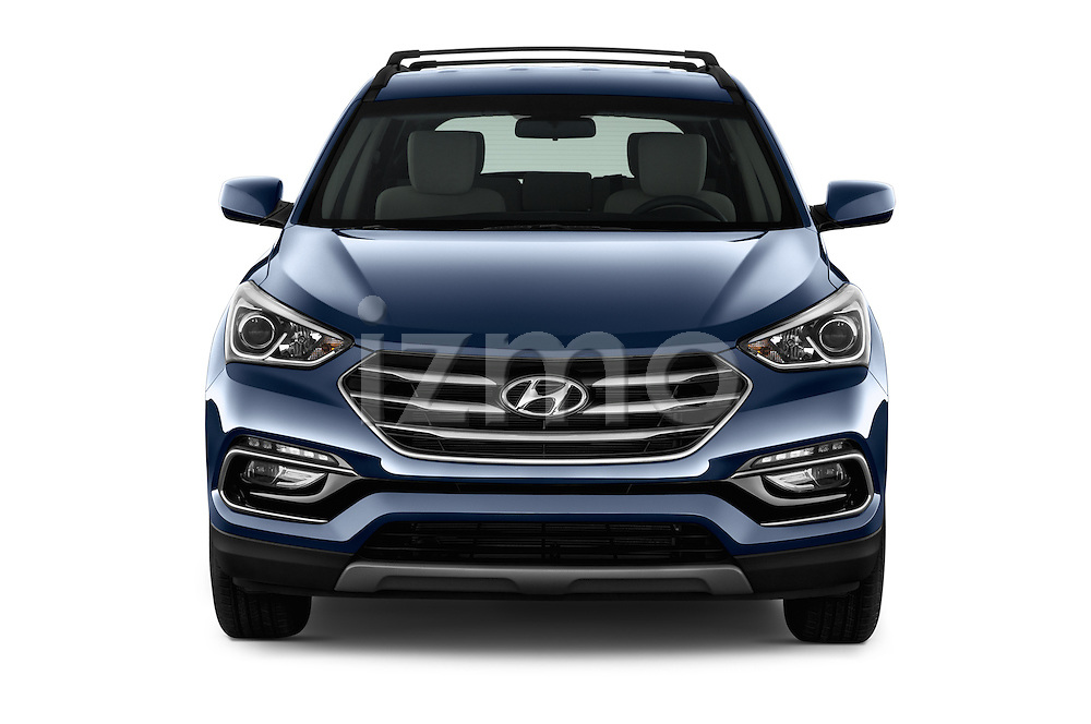 Car photography straight front view of a 2017 Hyundai Santa-Fe Sport 5 Door SUV Front View