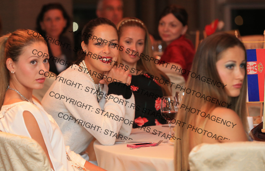 Tennis Tenis<br /> Fed Cup World Group play-off<br /> Ana Ivanovic (C) Bojana Jovanovska (R) and Jovana Jaksic (L) of Serbia looks on during the Fed Cup official dinner ahead of the play off match between Romania and Serbia at hotel Intercontinental <br /> Bucharest, 04.17.2014.<br /> foto: Srdjan Stevanovic/Starsportphoto &copy;