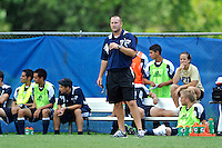 10 September 2011:  FIU Assistant Coach Chris Rich shouts instructions to players during the match as the FIU Golden Panthers defeated the Stetson University Hatters, 3-2 in the second overtime period, at University Park Stadium in Miami, Florida.