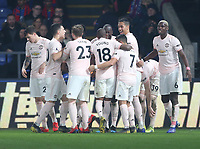 Manchester United's Romelu Lukaku celebrates scoring his side's second goal <br /> <br /> Photographer Rob Newell/CameraSport<br /> <br /> The Premier League - Wednesday 27th February 2019  - Crystal Palace v Manchester United - Selhurst Park - London<br /> <br /> World Copyright © 2019 CameraSport. All rights reserved. 43 Linden Ave. Countesthorpe. Leicester. England. LE8 5PG - Tel: +44 (0) 116 277 4147 - admin@camerasport.com - www.camerasport.com