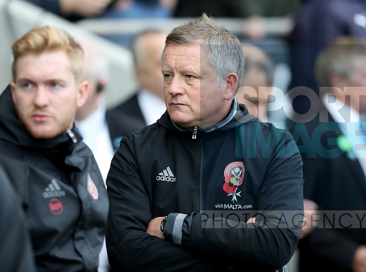 Chris Wilder manager of Sheffield United during the English Football League One match at Proact Stadium, Chesterfield. Picture date: November 13th, 2016. Pic Jamie Tyerman/Sportimage