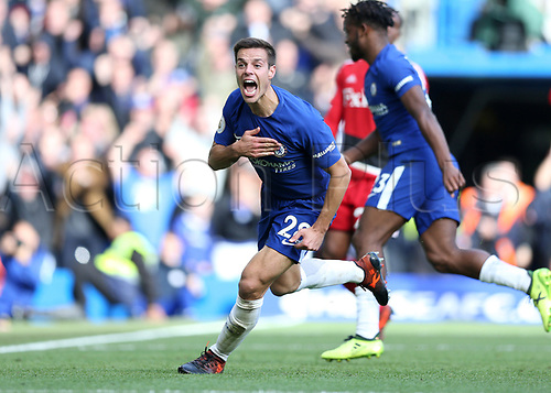 21st October 2017, Stamford Bridge, London, England; EPL Premier League football, Chelsea versus Watford; Cesar Azpilicueta of Chelsea celebrates after heading the ball to score his sides 3rd goal in the 86th minute to make it 3-2