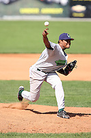 September 1 2008:  Pitcher Geury Ramirez of the Jamestown Jammers, Class-A affiliate of the Florida Marlins, during a game at Dwyer Stadium in Batavia, NY.  Photo by:  Mike Janes/Four Seam Images