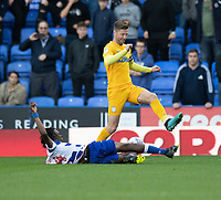 Preston North End's Paul Gallagher (right) is tackled by Reading's Ovie Ejaria (left) <br /> <br /> Photographer David Horton/CameraSport<br /> <br /> The EFL Sky Bet Championship - Reading v Preston North End - Saturday 19th October 2019 - Madejski Stadium - Reading<br /> <br /> World Copyright © 2019 CameraSport. All rights reserved. 43 Linden Ave. Countesthorpe. Leicester. England. LE8 5PG - Tel: +44 (0) 116 277 4147 - admin@camerasport.com - www.camerasport.com