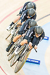 The team of New Zealand with Racquel Sheath, Rushlee Buchanan, Kirstie James and Jaime Nielsen competes in the Women's Team Pursuit - 1st Round as part of the 2017 UCI Track Cycling World Championships on 13 April 2017, in Hong Kong Velodrome, Hong Kong, China. Photo by Chris Wong / Power Sport Images