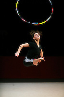 Alina Kabaeva of Russia trains with hoop before 2007 Thiais Grand Prix near Paris, France on March 22, 2007.