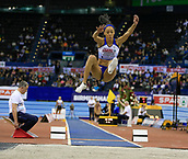 10th February 2019, Arena Birmingham, Birmingham, England; Spar British Athletics Indoor Championships; Katarina Johnson-Thompson competes in the Women's long jump during Day Two of the Spar Indoor Athletics Championships at Birmingham Arena
