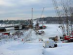 Construction of a new bridge over the Kennebec River, looking West. Dresden, Lincoln County, Maine, USA