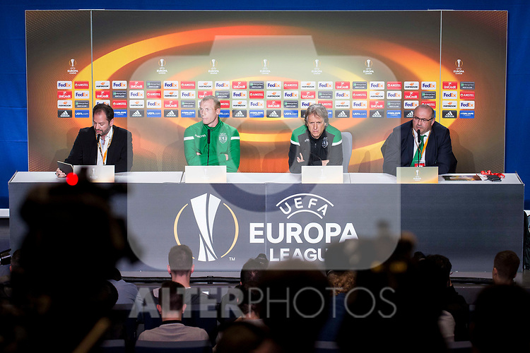 Sporting de Lisboa coach Jorge Jesus and Jérémy Mathieu during press conference the day before Europa League match between Atletico de Madrid and Sporting de Lisboa at Wanda Metropolitano in Madrid, Spain. April 04, 2018. (ALTERPHOTOS/Borja B.Hojas)
