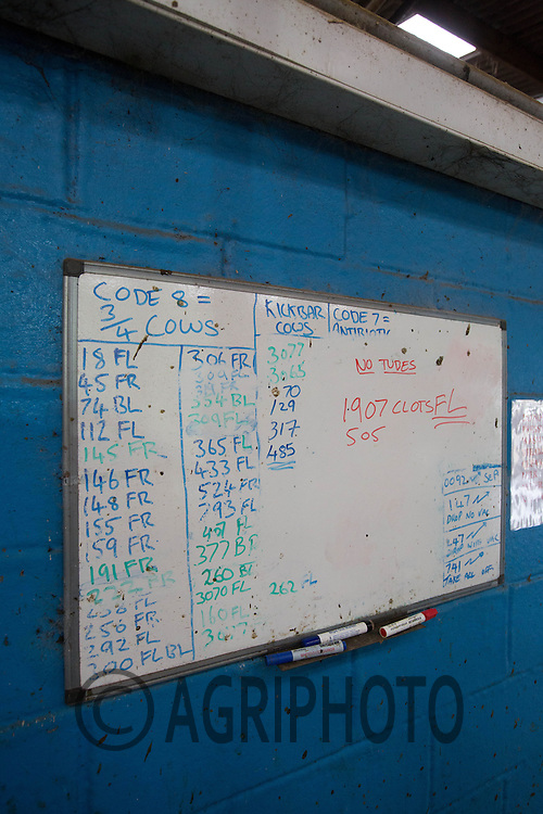 Instructions on a white board in a parlour on a dairy farm<br /> Picture Tim Scrivener 07850 303986