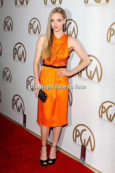 BEVERLY HILLS, CA - JANUARY 26: Amanda Seyfried (wearing Roland Mouret resort 2013 orange dress) at the 24th Annual Producers Guild of America Awards at The Beverly Hilton Hotel in Beverly Hills, California...Credit: MediaPunch/face to face..- Germany, Austria, Switzerland, Eastern Europe, Australia, UK, USA, Taiwan, Singapore, China, Malaysia and Thailand rights only -