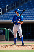 Toronto Blue Jays third baseman Addison Barger (8) at bat during a Florida Instructional League game against the Philadelphia Phillies on September 24, 2018 at Spectrum Field in Clearwater, Florida.  (Mike Janes/Four Seam Images)
