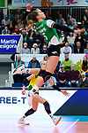 05.10.2019, Halle Berg Fidel, Muenster<br />Volleyball, Bundesliga Frauen, Normalrunde, USC MŸnster / Muenster vs. Allianz MTV Stuttgart<br /><br />Angriff Liza Kastrup (#5 Muenster)<br /><br />  Foto © nordphoto / Kurth